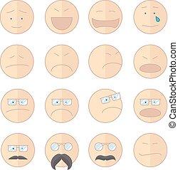 sonrisa, emoticons, vector, ilustración