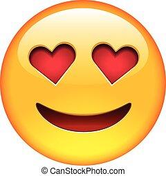 sonrisa, enamorado, emoticon