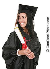 sonrisa grande, hispano, graduado de la universidad