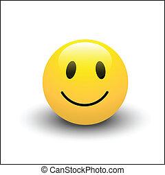 sonrisa, icono, vector