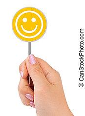 sonrisa, señal, mano
