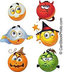 sonrisas, halloween, redondo