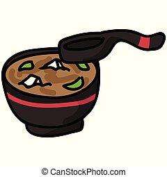 sopa, alimento, colher, illustration., desenhado, cute,...