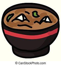 sopa, alimento, illustration., desenhado, nori, cute, miso,...