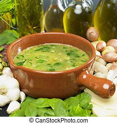 sopa, (bouillon), con, espinaca
