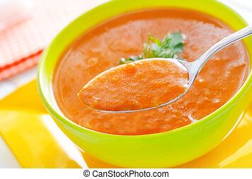 sopa, calabaza, tazón, verde, fresco