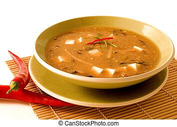 sopa, caliente, agrio