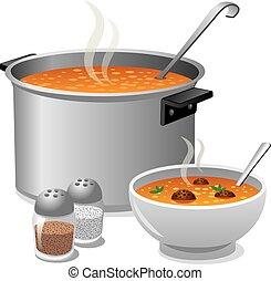 sopa, caliente