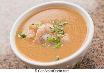 sopa, camarón, bisque