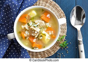 sopa, carne