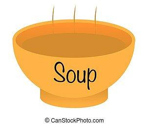 sopa, cheio, tigela