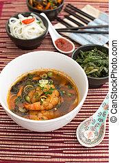 sopa, chino, camarones