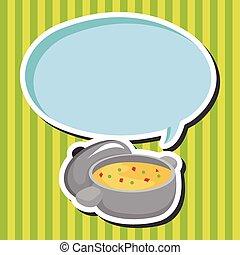 sopa, chowder milho, tema, elementos