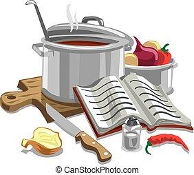 sopa, cocina, ilustración