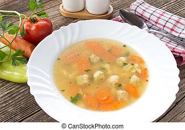 sopa, com, almôndegas, e, legumes, em, prato