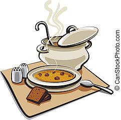 sopa, com, croutons