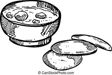 sopa, com, pão alho