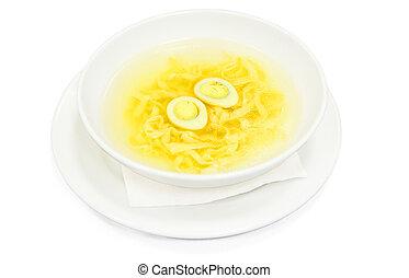 sopa, con, caldo, y, tallarines