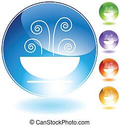 sopa, cristal, icono