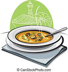 sopa, croutons, abóbora