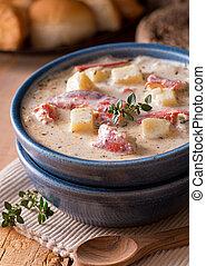 sopa de pescado, langosta