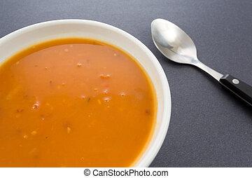 sopa de tomate, bisque, camarón
