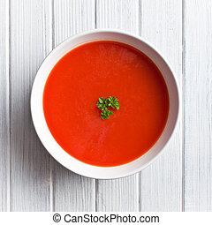 sopa de tomate, tabla, cocina