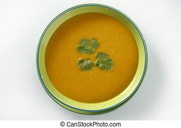 sopa, delicioso, calabaza