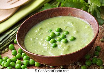 sopa, ervilha verde