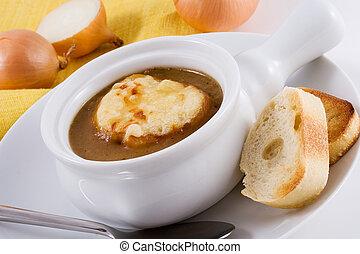 sopa, francés, cebolla