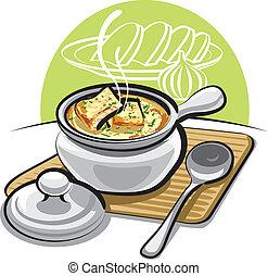 sopa francesa cebola, com, croutons, e