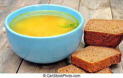 sopa galinha, com, borodino, pão
