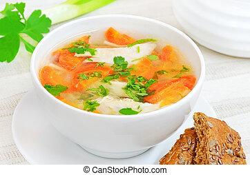 sopa galinha, com, legumes