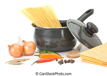 sopa, galinha, panela, ingredientes