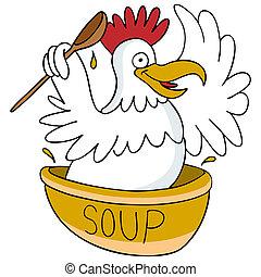 sopa, galinha