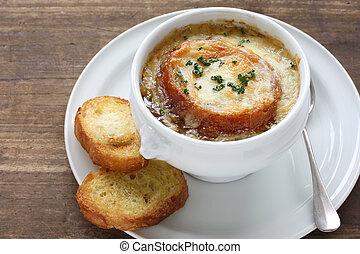 sopa, gratin, francés, cebolla