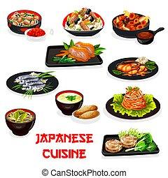 sopa, japoneses, legumes, carne, miso, arroz, peixe