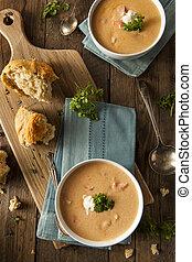 sopa, langosta, casero, bisque