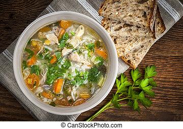 sopa, legumes, arroz, galinha
