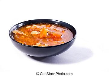 sopa, minestrone, tazón, negro