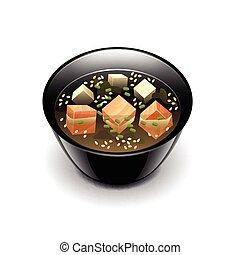 sopa miso, branca, vetorial, isolado