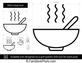 sopa miso, linha, icon.