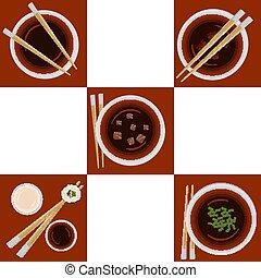 sopa miso, porção, jogo, variações