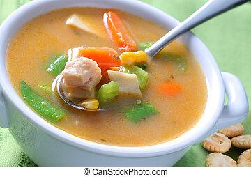 sopa, noodle frango, tigela