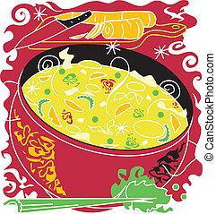 sopa, noodle frango