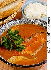 sopa, peixe, arroz, húngaro, pão