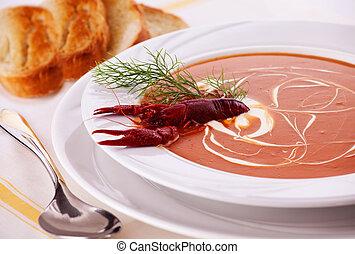 sopa, pez, crema