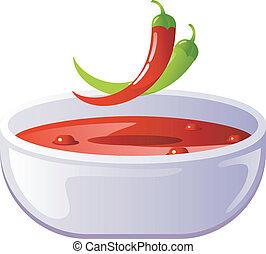 sopa, pimentão, temperado