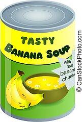 sopa, plátano