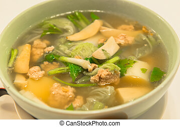 sopa, tailandês, tigela
